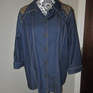 Susan Graver Denim Blue Jean Jacket Blazer
